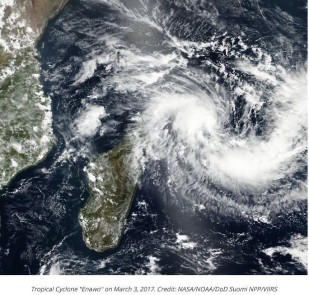 photo 2- vue satellitaire du cyclone Enawo