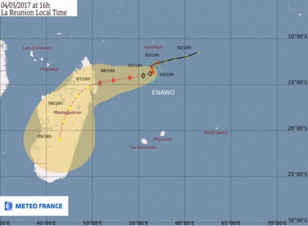 photo 2bis- prévisions du trajet du cyclone Enawo